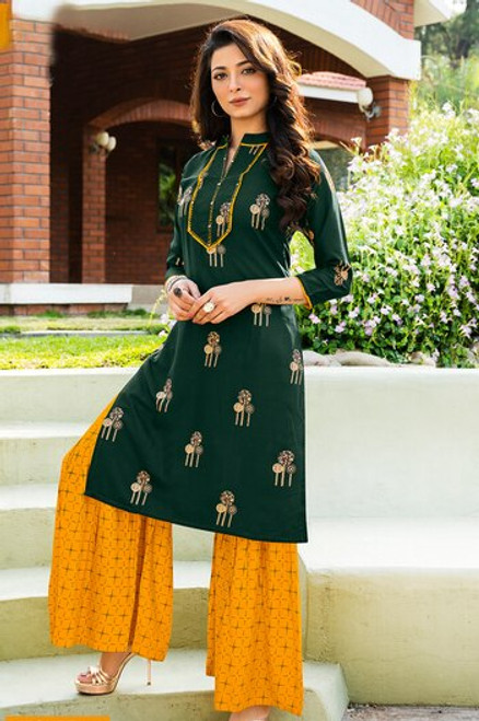 Dark Green And Yellow Color Gold Print Dress  (D1126)