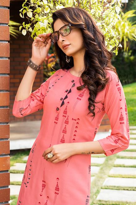Pink Color Gold Print Dress  (D1128)