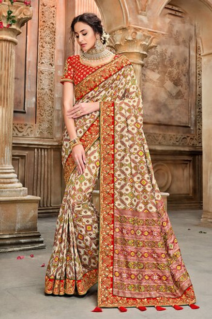 Beige And Red Patola Silk Saree (S0661)