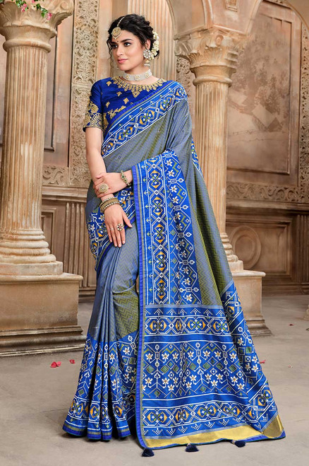 Blue Color Patola Silk Saree (S0662)