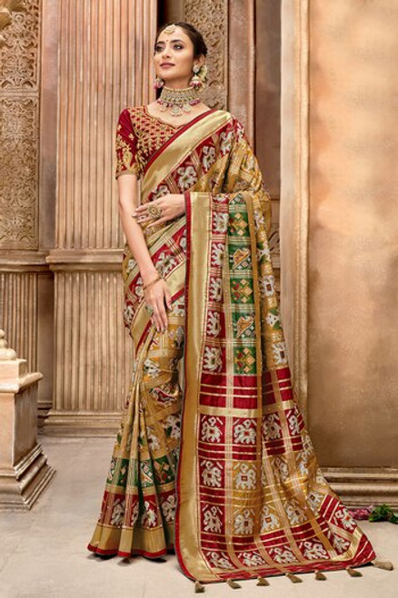 Multi Color Patola Silk Saree (S0664)