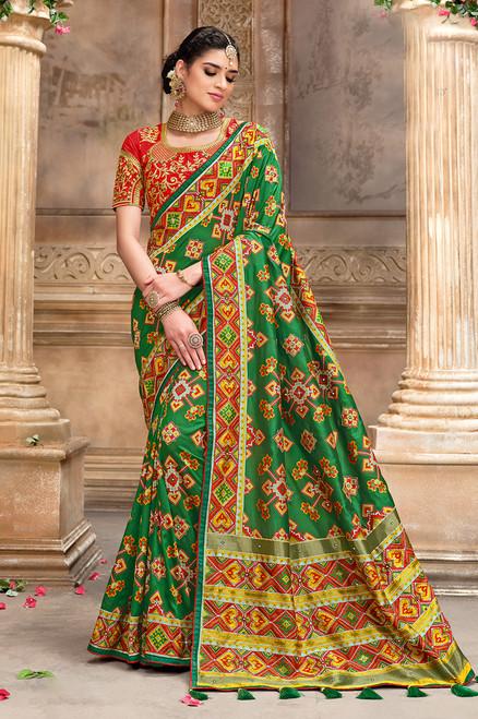 Green Color Patola Silk Saree (S0665)