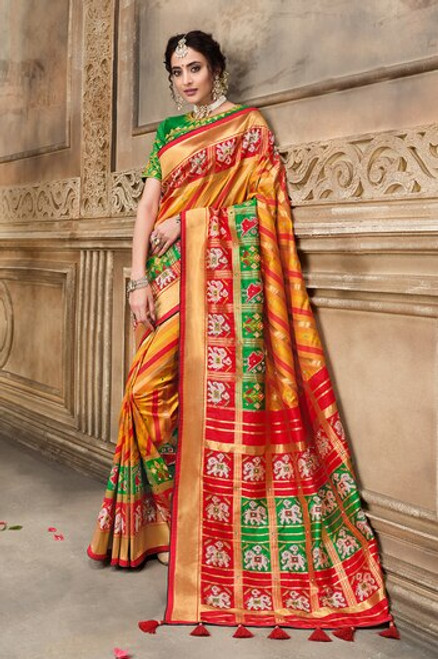 Orange Color Patola Silk Saree (S0666)