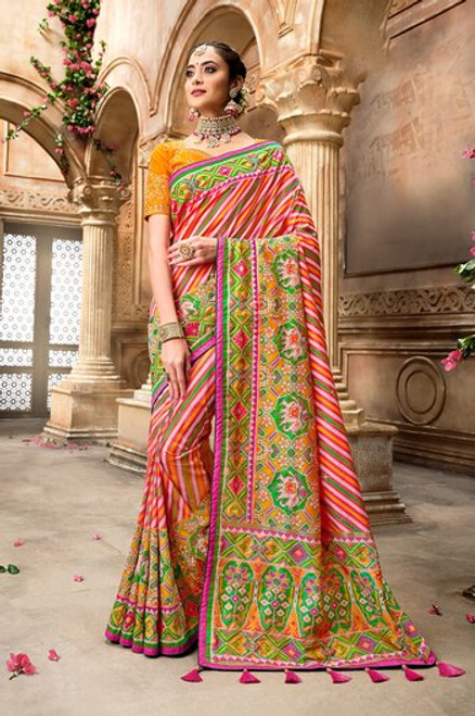 Multi Color Patola Silk Saree (S0667)