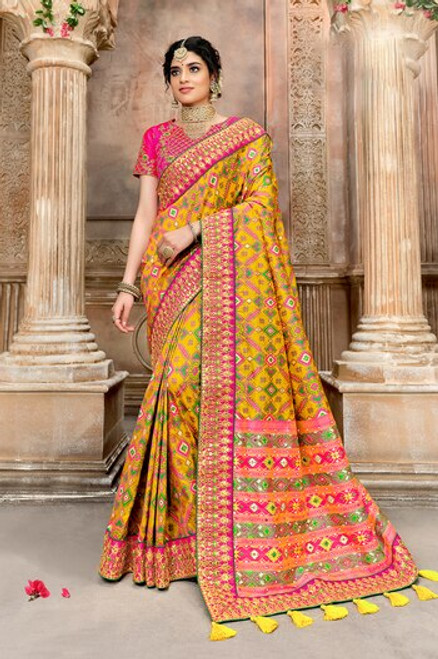 Yellow Color Patola Silk Saree (S0670)