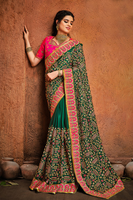 Green Color Kachii Work Silk Saree (S0672)
