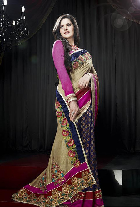 Charming Cream Viscose Saree