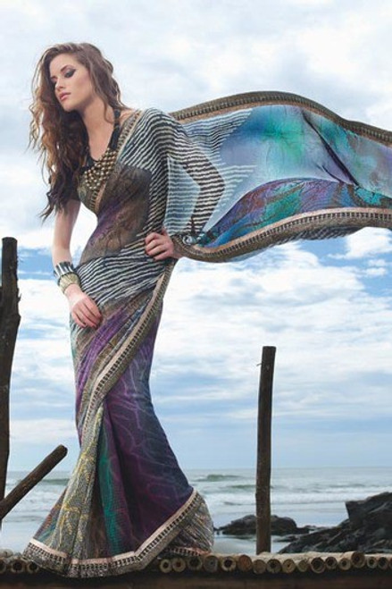 Wonderful Faux Georgette Saree (S11110)