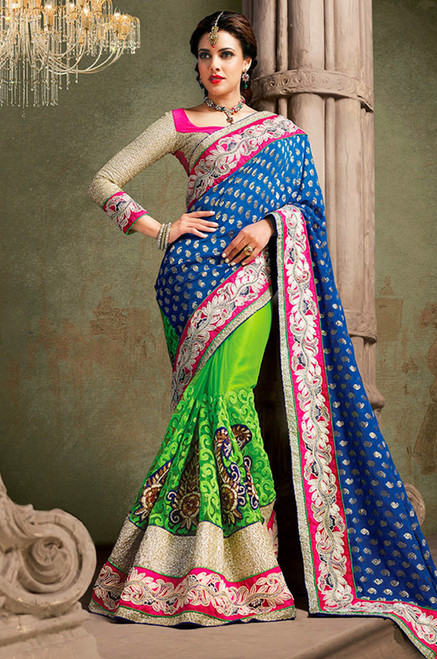Parrot Green And Blue Indian Wedding Saree (S0282)