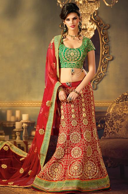 Red Raw Silk Bridal Lehenga Choli (L0050)