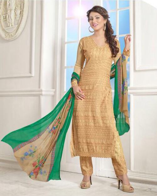 Beige Chiffon Party Wear Salwar Kameez (D0285)