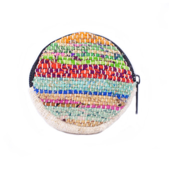 Round Recycled Sari Coin Purse