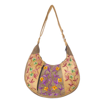 Embroidered Crescent Shoulder Bag