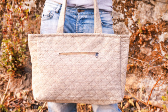 Spacious Hemp and Cotton Tote Bag
