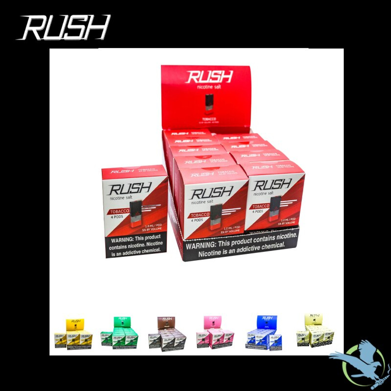Rush Replacement Pods By America Juice Co  - Display Of 10 Packs *Drop  Ships* (MSRP $15 00 Each)