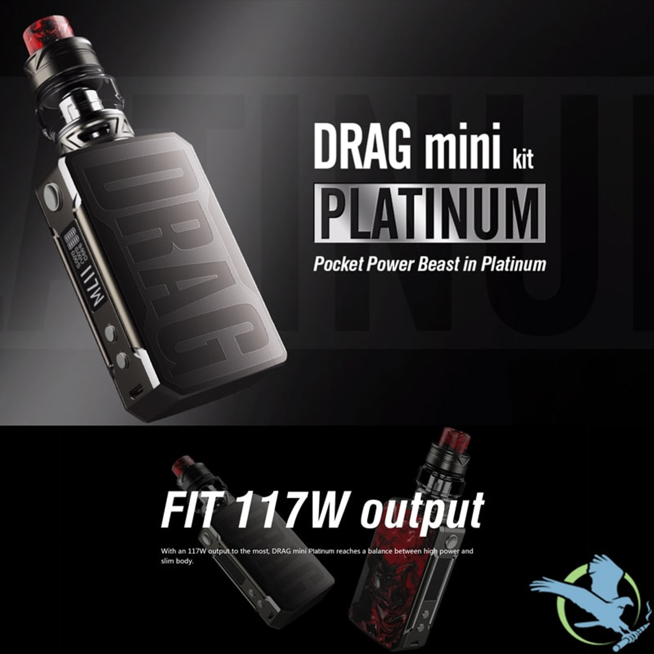 VOOPOO Drag Mini Platinum 4400mAh 177W TC VV Starter Kit With 5ML UFORCE T2  Sub-Ohm Tank (MSRP $125 00)