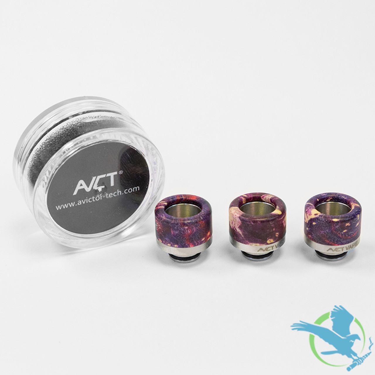 AVCT High-End Stabilized Wood And Stainless Steel Wide Bore 510 Drip Tips -  Assorted Colors - Pack Of 10 [AV-D088] (MSRP $7 00 Each)