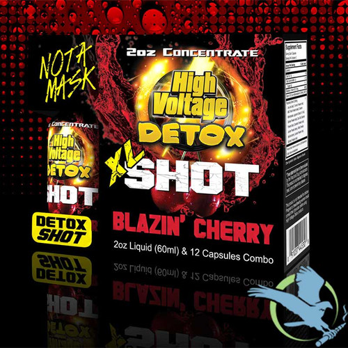 High Voltage Detox XL Shot Combo With 2oz Concentrate and 12 Capsules - Blazin' Cherry