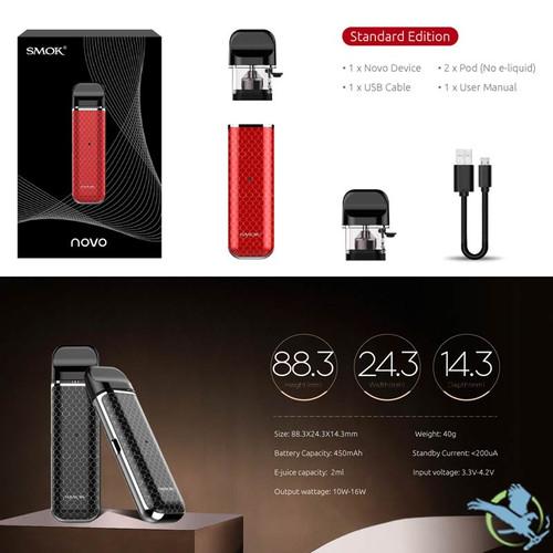 SMOK Novo 450mAh 2ML Pod System Starter Kit (MSRP $35 00)