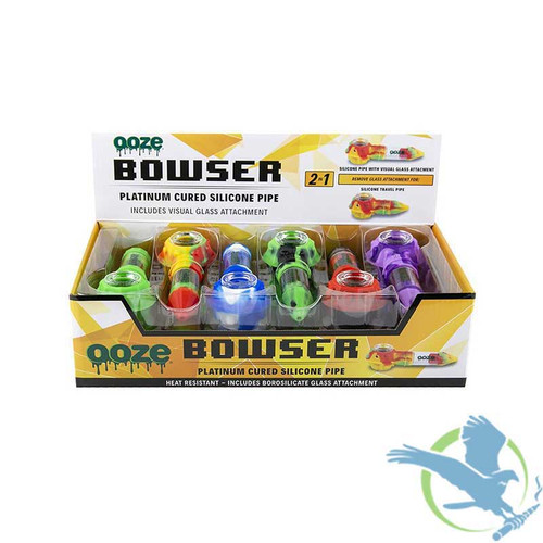 Ooze Bowser 2 In 1 Silicone And Glass Pipe - Display of 12