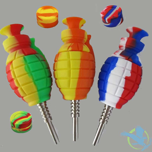 Silicone Grenade Nectar Collector With Titanium Nail And Wax Container - 6.5 Inches - Assorted Colors [NC003C]