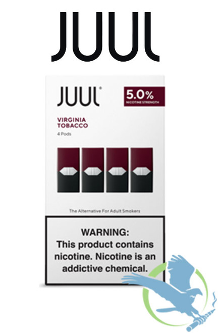 Juul Tobacco and Menthol Pre-filled Replacement 5% Nicotine Salt Pods - Display of 8 Packs - Virginia Tobacco