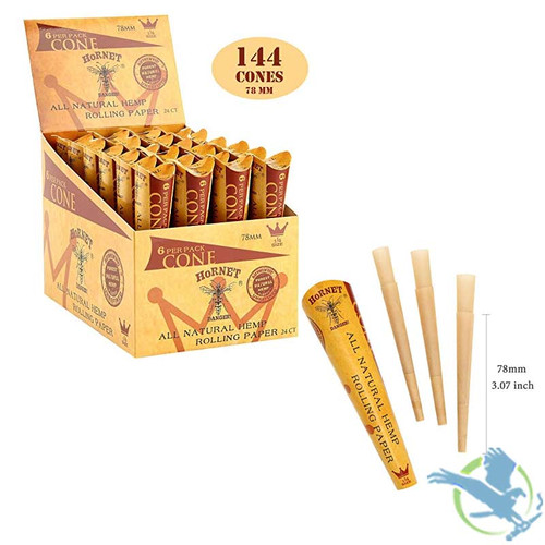 Hornet Organic Pre-Rolled Rolling Paper Cones - 1 1/4 Size - Display of 24 Boxes