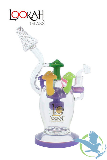 Lookah Glass Water Pipe Mushroom Design With Sprinkler Perc - 11 Inches - 627 Grams - Asssorted Colors [WPC722]