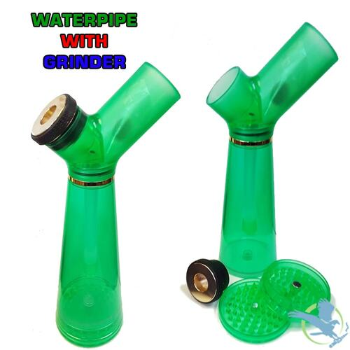 Acrylic Water Pipe With Built In Grinder - 9 Inches - Assorted Colors [YD240]
