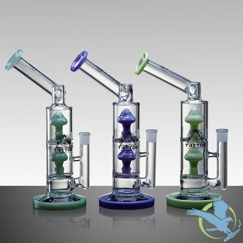 T'Atto USA Multi Chambered Angled Neck Glass Water Pipe With Double Mushroom Perc - 1019 Grams - 13 Inches - Assorted Colors [TA087]