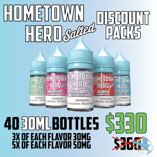 Hometown Hero Salted 40 Bottle Discount Pack E-Liquid 30ML