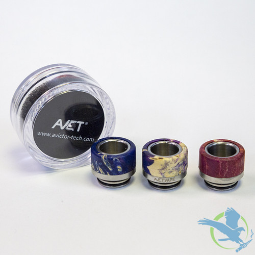 AVCT High-End Stabilized Wood And Stainless Steel Wide Bore 810 Drip Tips - Assorted Colors - Pack Of 10 [AV-D089]