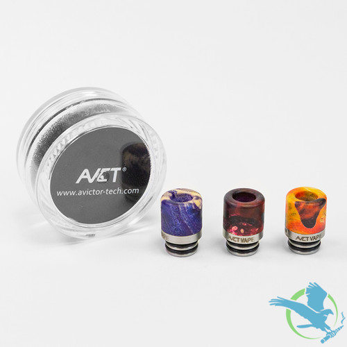 AVCT High-End Stabilized Wood And Stainless Steel 510 Drip Tips - Assorted Colors - Pack Of 10 [AV-D087]