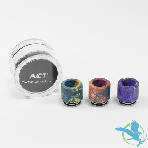 AVCT High-End Stabilized Wood And Stainless Steel Standard 810 Drip Tips - Assorted Colors - Pack Of 10 [AV-D090]