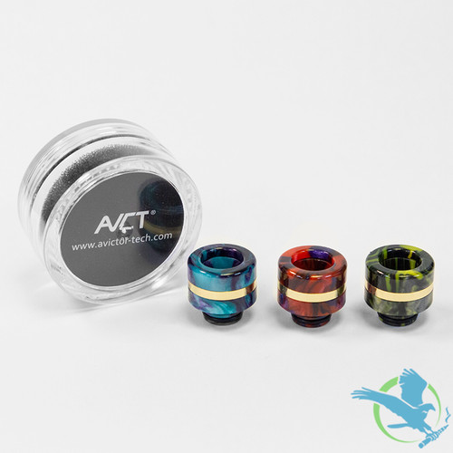 AVCT High-End Resin And Stainless Steel Wide Bore 510 Drip Tips - Assorted Colors - Pack Of 10 [AV-D093]
