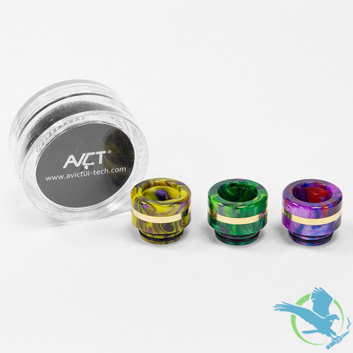 AVCT High-End Resin And Stainless Steel Wide Bore 510 Drip Tips - Assorted Colors - Pack Of 10 [AV-D094]