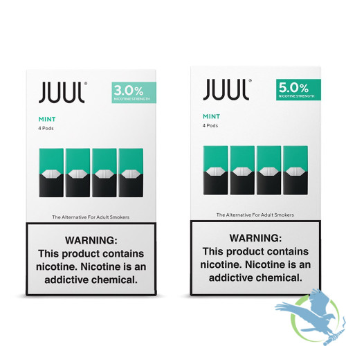Juul Mint Pre-filled Replacement Nicotine Salt Pods - Display of 8 Packs - 3.0%, 5.0%