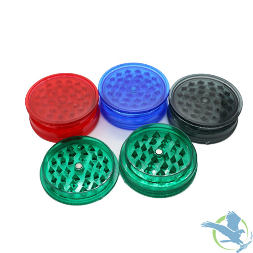 Candy Skull 3 Part Clear Plastic Grinders - 58mm - Assorted colors - Display of 24 [GR044]
