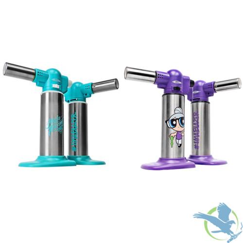 Blazer Big Buddy Trailblazer Butane Refillable Turbo Torch - Angela Mazzanti Teal & Stainless Steel, Granny Purple & Stainless Steel