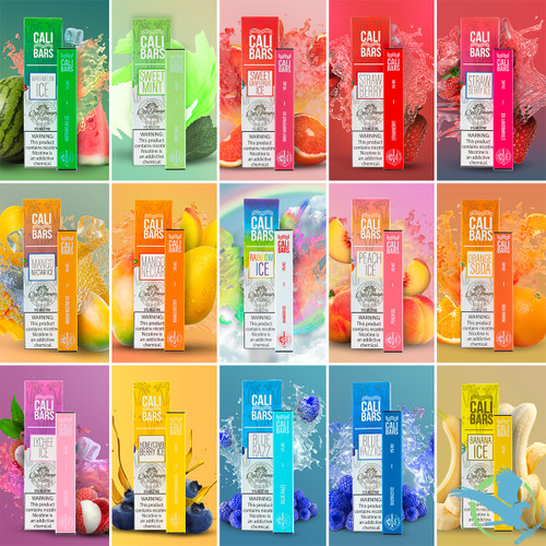 Cali Bars 280mAh 1.3mL Disposable Prefilled Nicotine Salt - Display of 10 - Blue Razz, Blue Razz Ice, Lychee Ice, Mango Nectar, Mango Nectar Ice, Peach Ice, Strawberry, Strawberry Ice, Watermelon Ice, Orange Soda,Banana Ice,Rainbow Ice,Sweet Mint,Sweet Grapefuit Ice, 2% (20mg), 5% (50mg)
