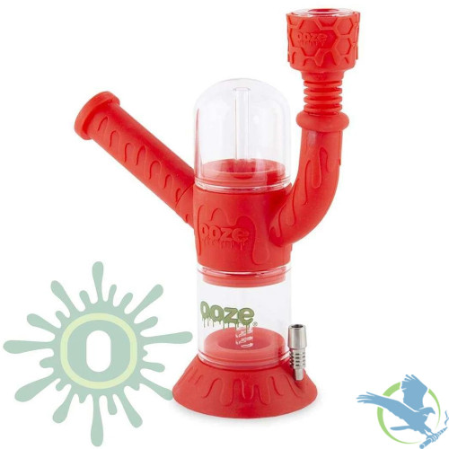 Ooze Cranium 4-in-1 Silicone Glass Water Pipe & Nectar Collector - Scarlet