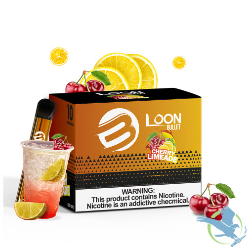 Loon Bullet 2ML 450mAh Prefilled Salt Nicotine Disposable Vape Device - Display of 10,Cherry Limeade,6%,60 mg