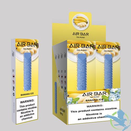 Air Bar Diamond 1.8ML 500 Puffs 380mAh Prefilled Nicotine Salt Disposable Device Powered By Suorin - Display of 10,Banana Ice,5%,50mg