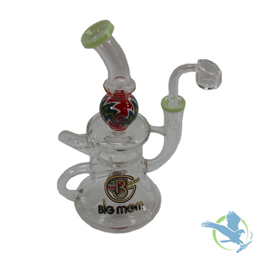 Big B Mom Glass Water Pipe Rig Mini Bell With Inline Perc - 285 Grams - 8 Inches - Assorted Colors [BM220]