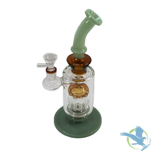 Big B Mom Glass Water Pipe Cylinder Design With Tree Perc - 484 Grams - 10.5 Inches - Assorted Colors [BN004]
