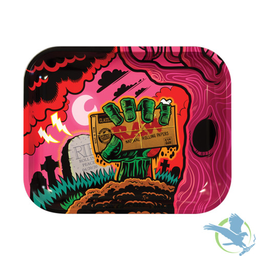 Raw Large Metal Rolling Tray - Zombie