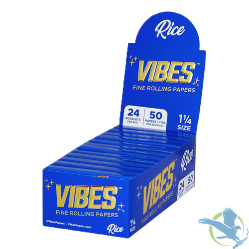 Vibes Rolling Papers - 1.25 Inch With Tips - Pack of 24 - Rice