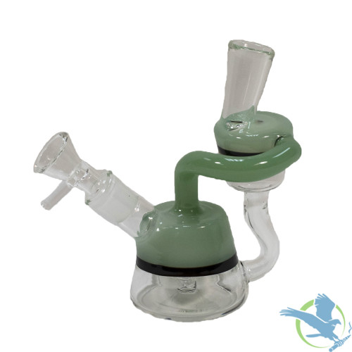 Glass Mini Water Pipe With Tire Perc - 145 Grams - 5.5 Inches - Assorted Colors [BN078]
