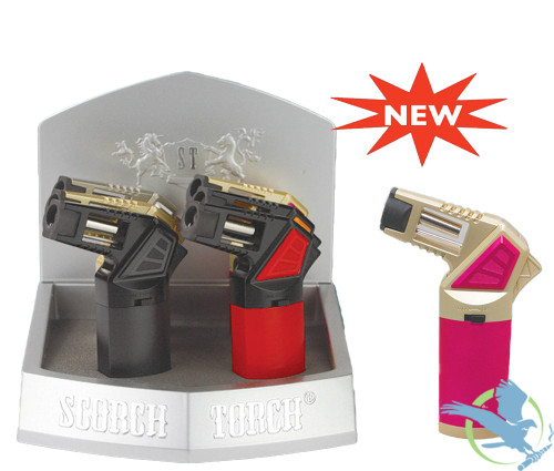 Scorch Torch 45 Degree Easy Held Torch With Cigar Punch - Assorted Colors - Display of 6 [61575]