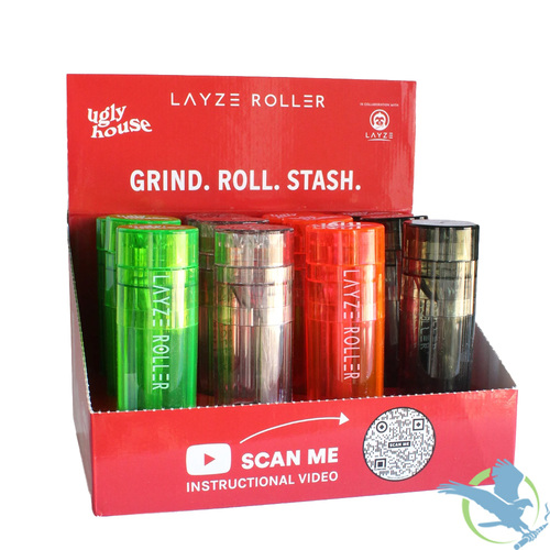 Ugly House LayzeRoller 3-In-1 Grinder - Assorted Colors - Display of 12